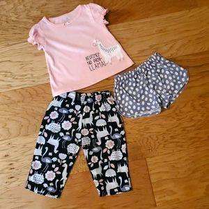 3/$15 3-piece Llama Pajama Set Pink Black Grey